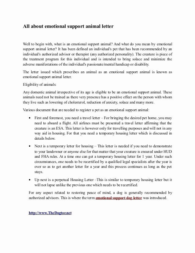 Emotional Support Animal Sample Letter for Flying New Emotional Support Animal Letter