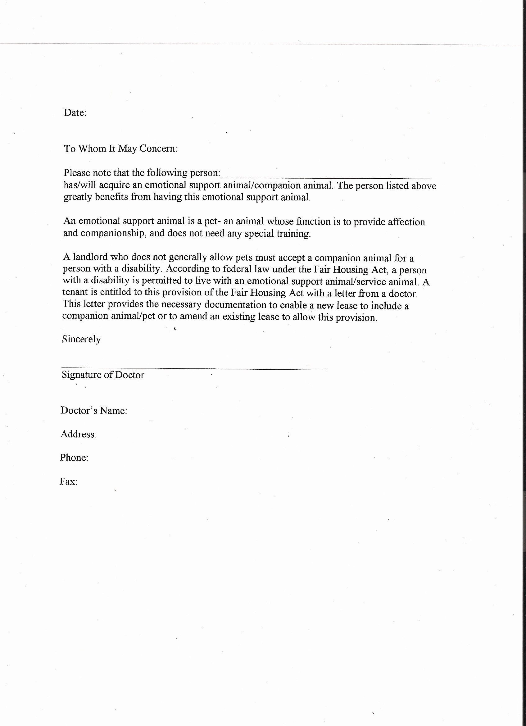 Emotional Support Animal Sample Letter for Flying New Panion Animal Letter