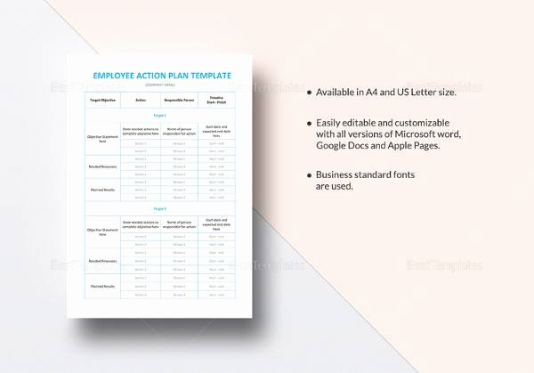 Employee Action Plan Template Luxury Sample Employee Action Plan 12 Documents In Pdf