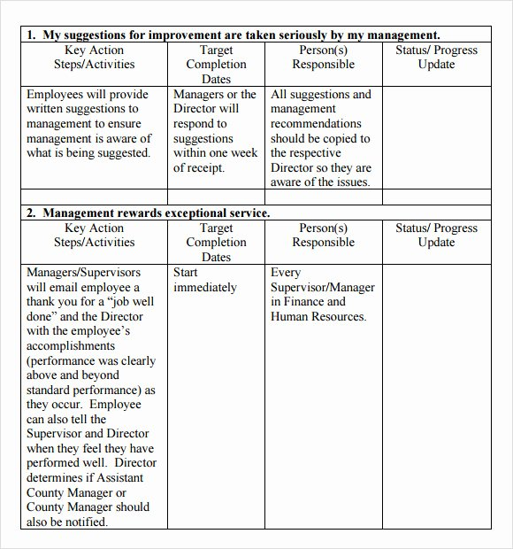 Employee Action Plan Template New Hr Employee Action Plan Sample