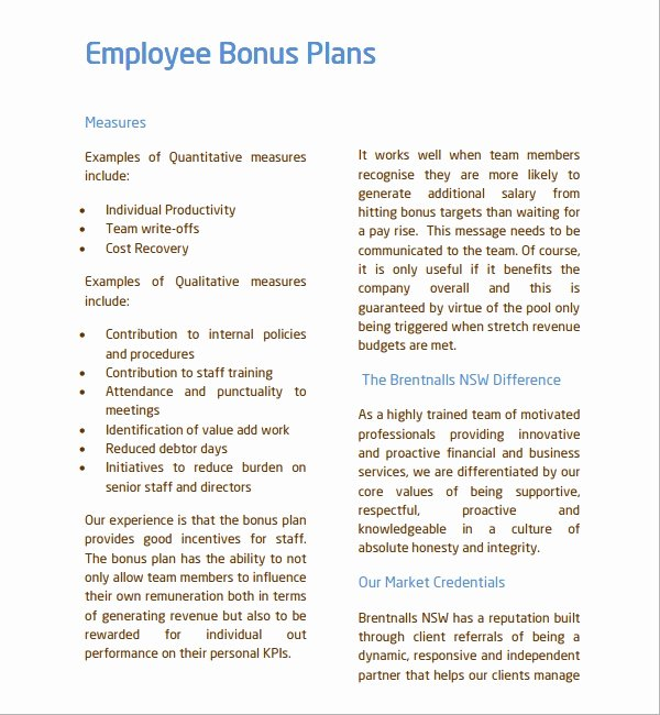 Employee Bonus Plan Template Awesome 7 Bonus Plan Templates