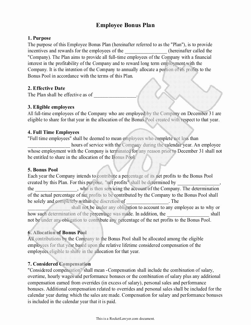 Employee Bonus Plan Template Lovely Employee Bonus Agreement Clean [employees Bonus