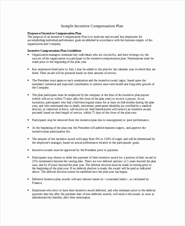 Employee Bonus Plan Template Luxury Pensation Plan Template 8 Free Word Document