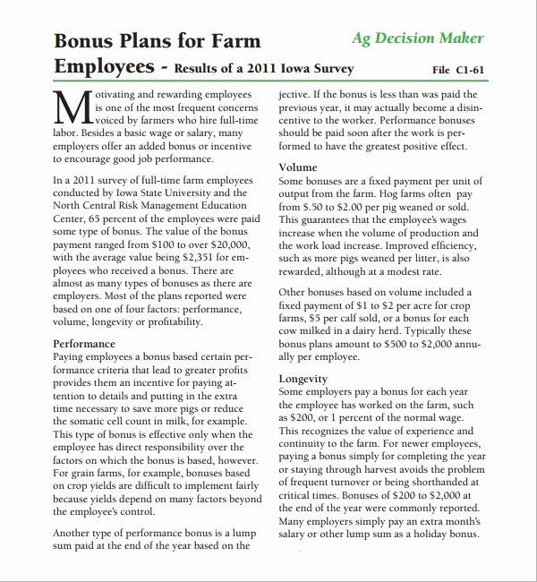 Employee Bonus Plan Template New Sample Bonus Plan Template 7 Free Documents In Pdf