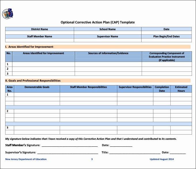 Employee Corrective Action Plan Template Beautiful Beaufiful Corrective Action form Template Quality