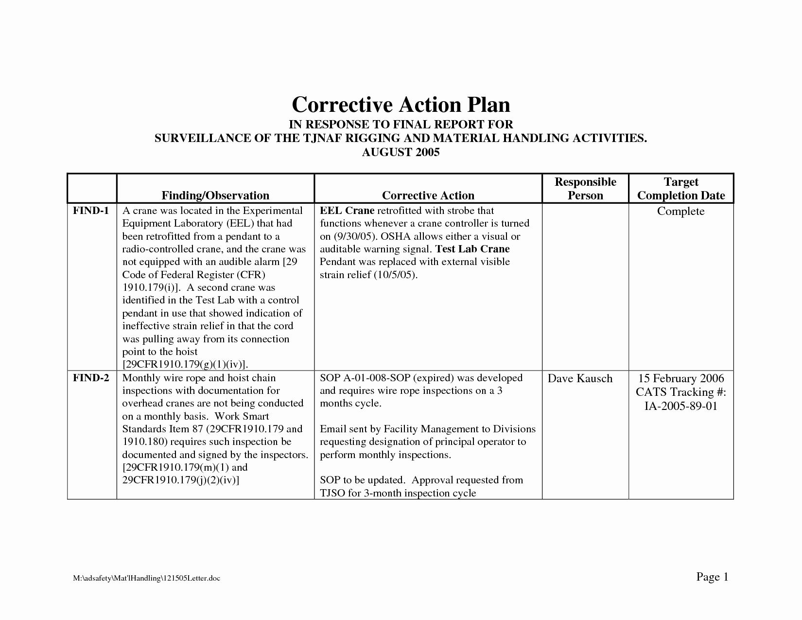 Employee Corrective Action Plan Template Beautiful Corrective Action Plan