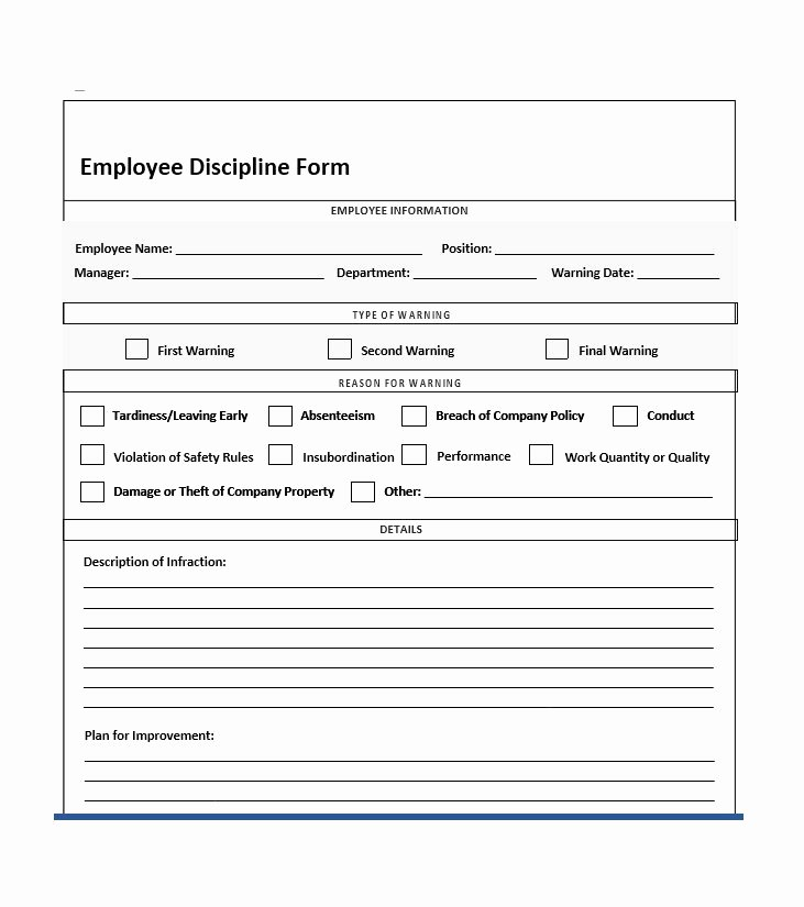 Employee Corrective Action Plan Template Elegant Employee Disciplinary Action form with Checklist