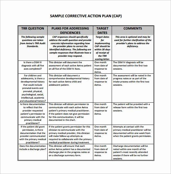 Employee Corrective Action Plan Template Fresh Corrective Action Plan Template 15 Free Sample Example