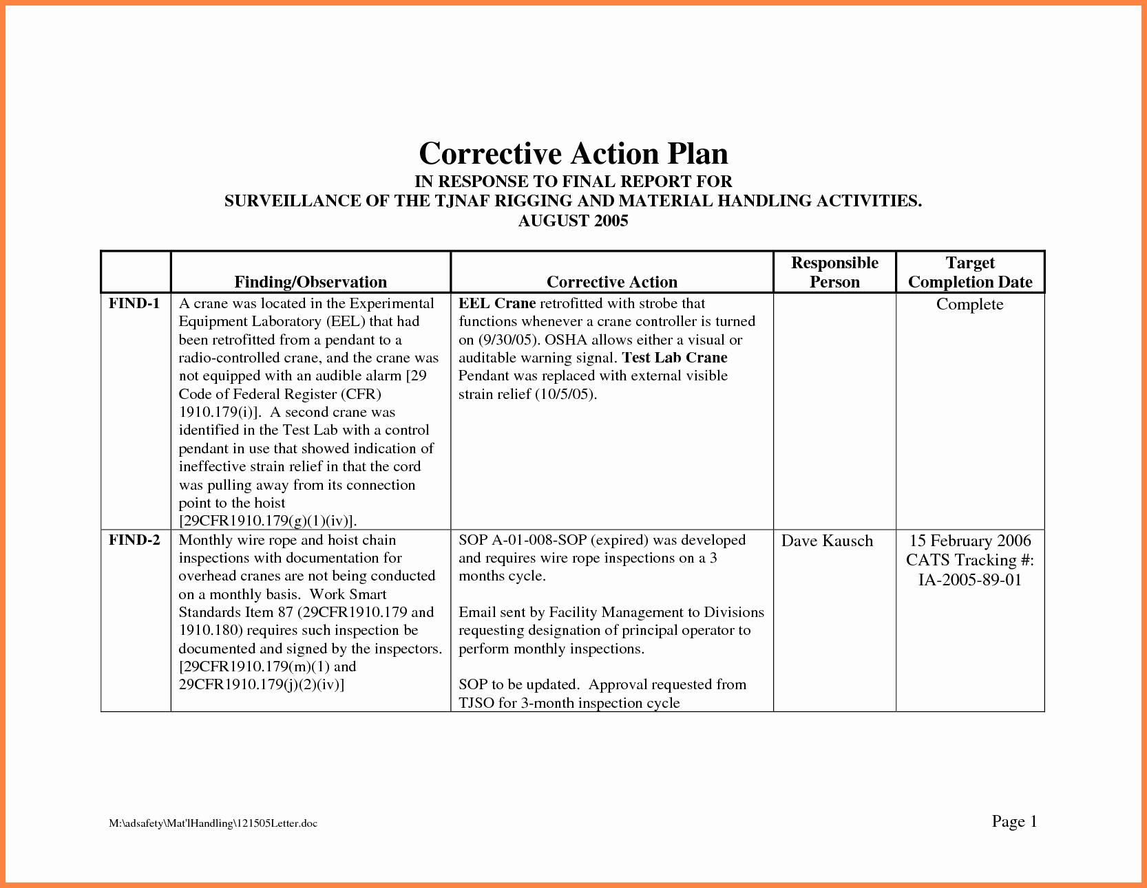 Employee Corrective Action Plan Template Inspirational Corrective Action Plan Template