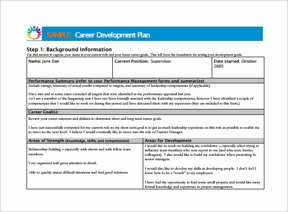 Employee Development Plan Template Fresh Career Development Plan Template 10 Free Word Pdf