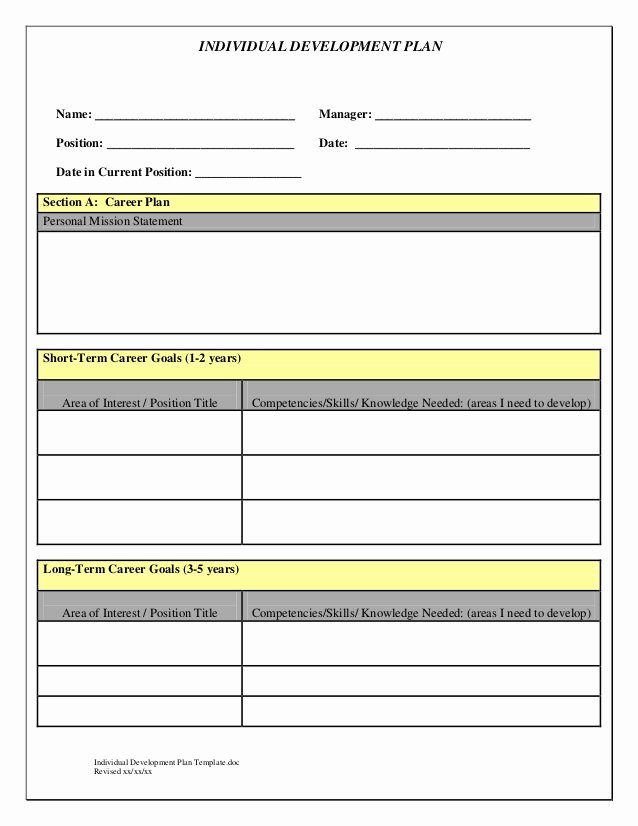 Employee Development Plan Template New Indivedual Development Plan Temp