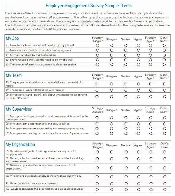 Employee Engagement Plan Template Inspirational Employee Engagement Survey Question Templates Resume