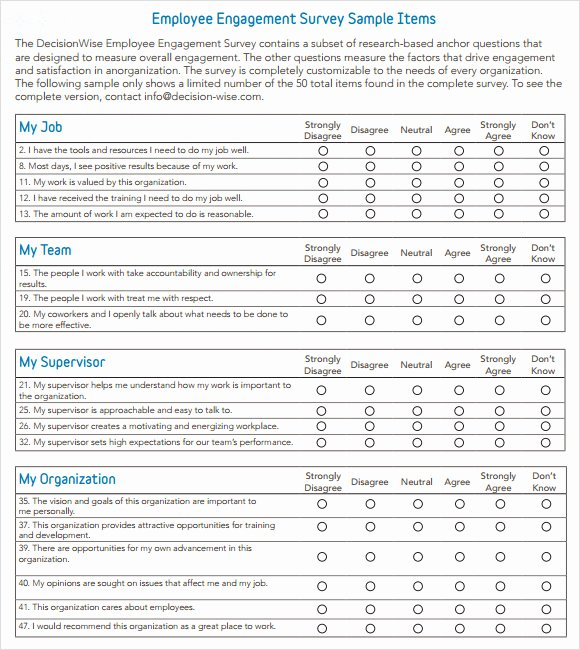 Employee Engagement Plan Template Luxury Employee Engagement Survey 13 Download Free Documents
