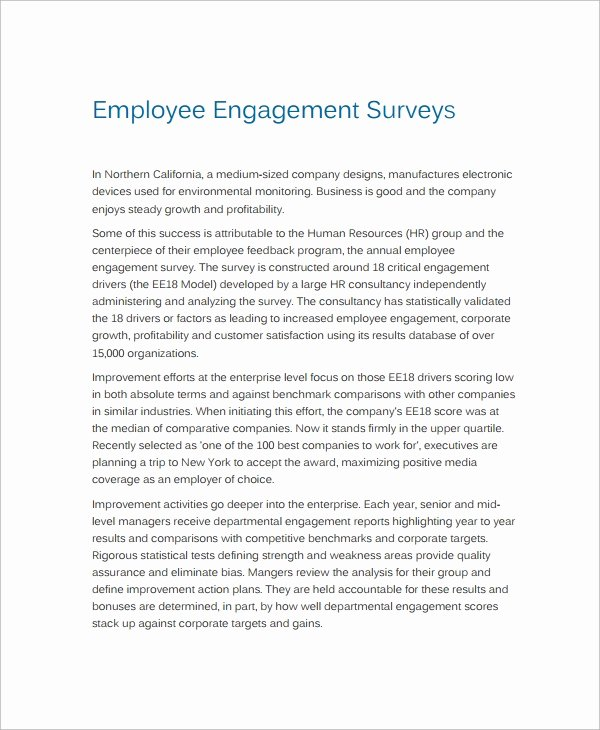 Employee Engagement Plan Template New 12 Employment Engagement Survey Samples