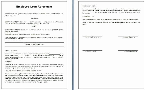 Employee forgivable Loan Agreement Template Beautiful Employee Loan Agreement Template Personal Loan