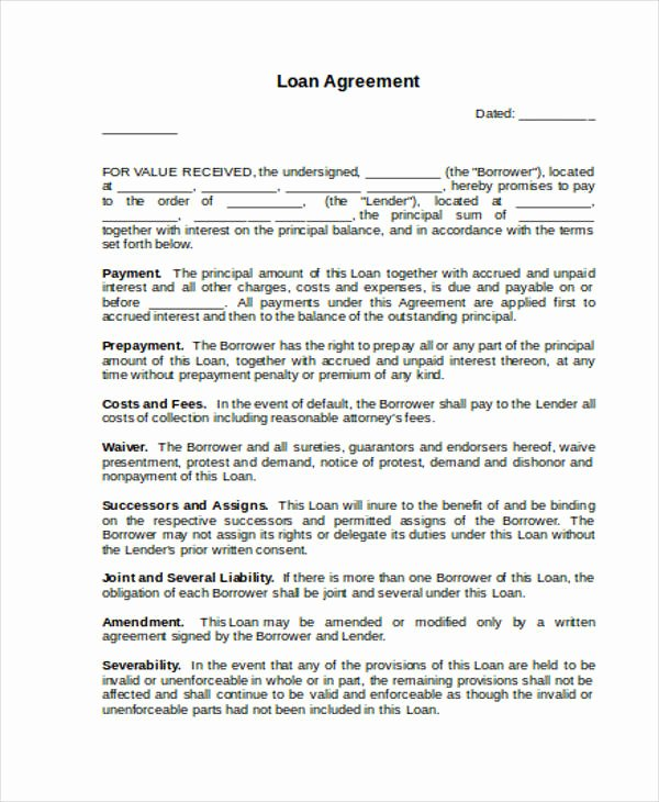 Employee forgivable Loan Agreement Template Fresh Loan Agreement form Word