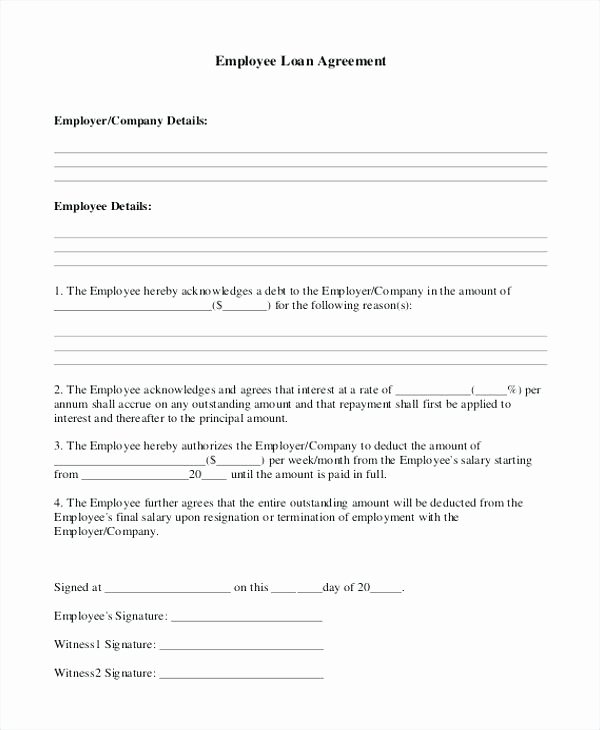 Employee forgivable Loan Agreement Template Inspirational Printable Sample Personal Loan Agreement form Basic