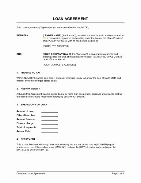 Employee forgivable Loan Template Awesome Business Loan Contract Template
