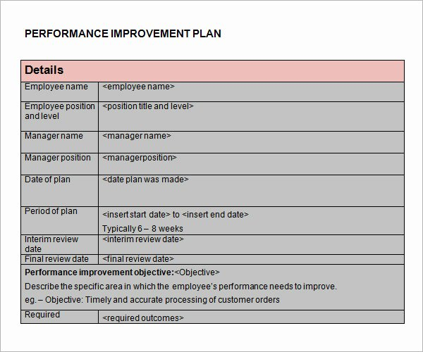 Employee Improvement Plan Template Elegant Performance Improvement Plan Template 14 Download