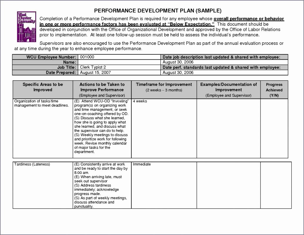 Employee Improvement Plan Template Inspirational Performance Improvement Plan Examples
