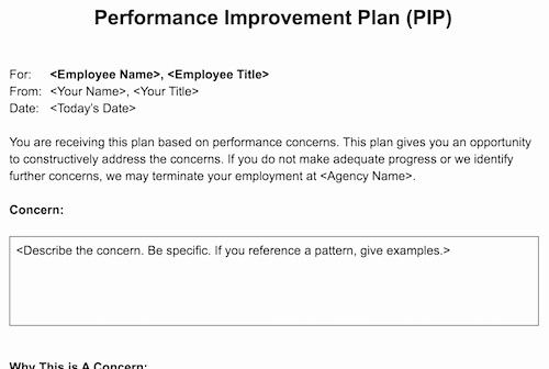 Employee Improvement Plan Template Inspirational Performance Improvement Plan Pip Template for Agencies