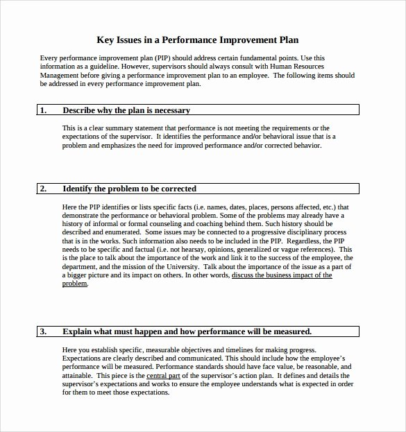 Employee Improvement Plan Template Lovely Performance Improvement Plan Template