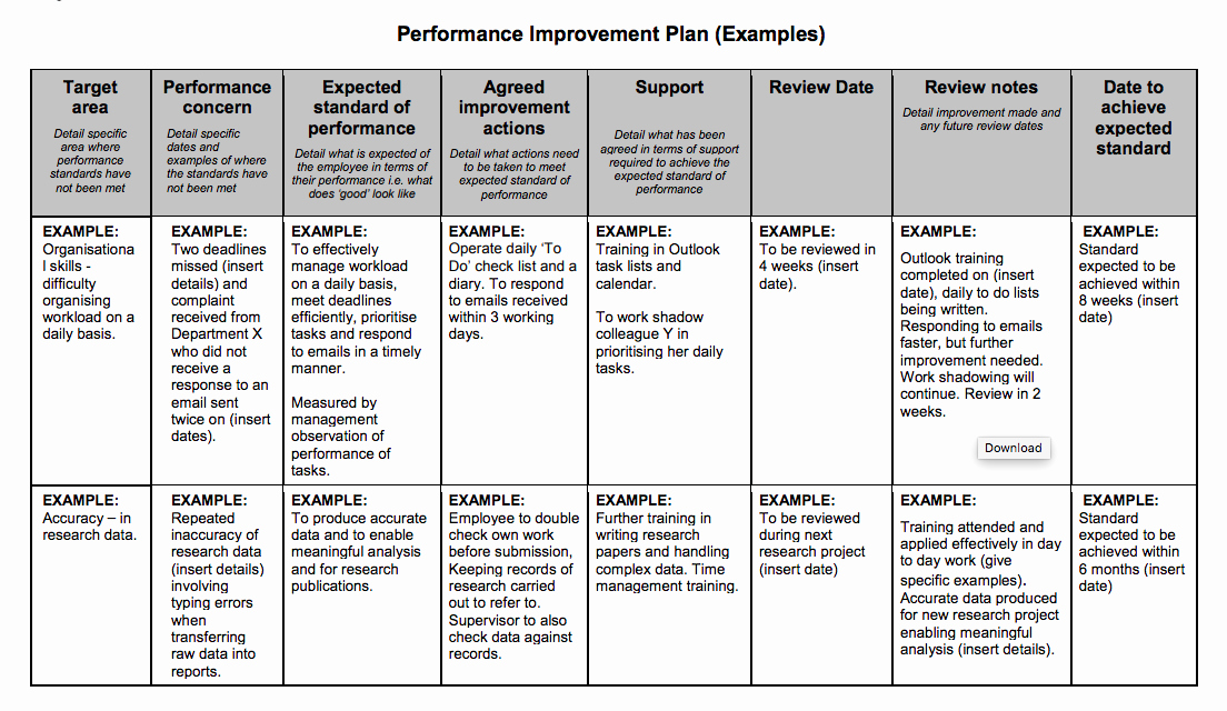Employee Improvement Plan Template New Examples Performance Improvement Plans for Employees