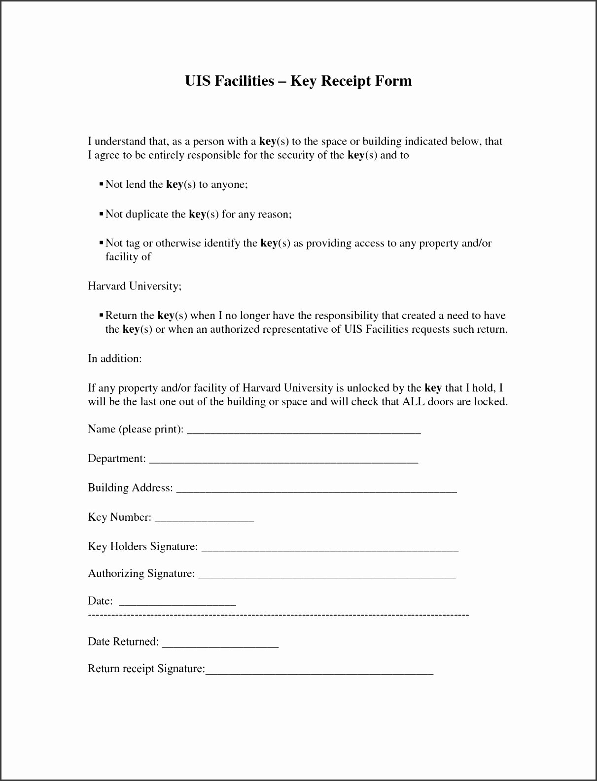 Employee Key Holder Agreement form Fresh 10 Free Printable Receipt form Sampletemplatess