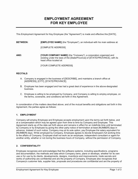 Employee Key Holder Agreement form Lovely Employment Agreement Template
