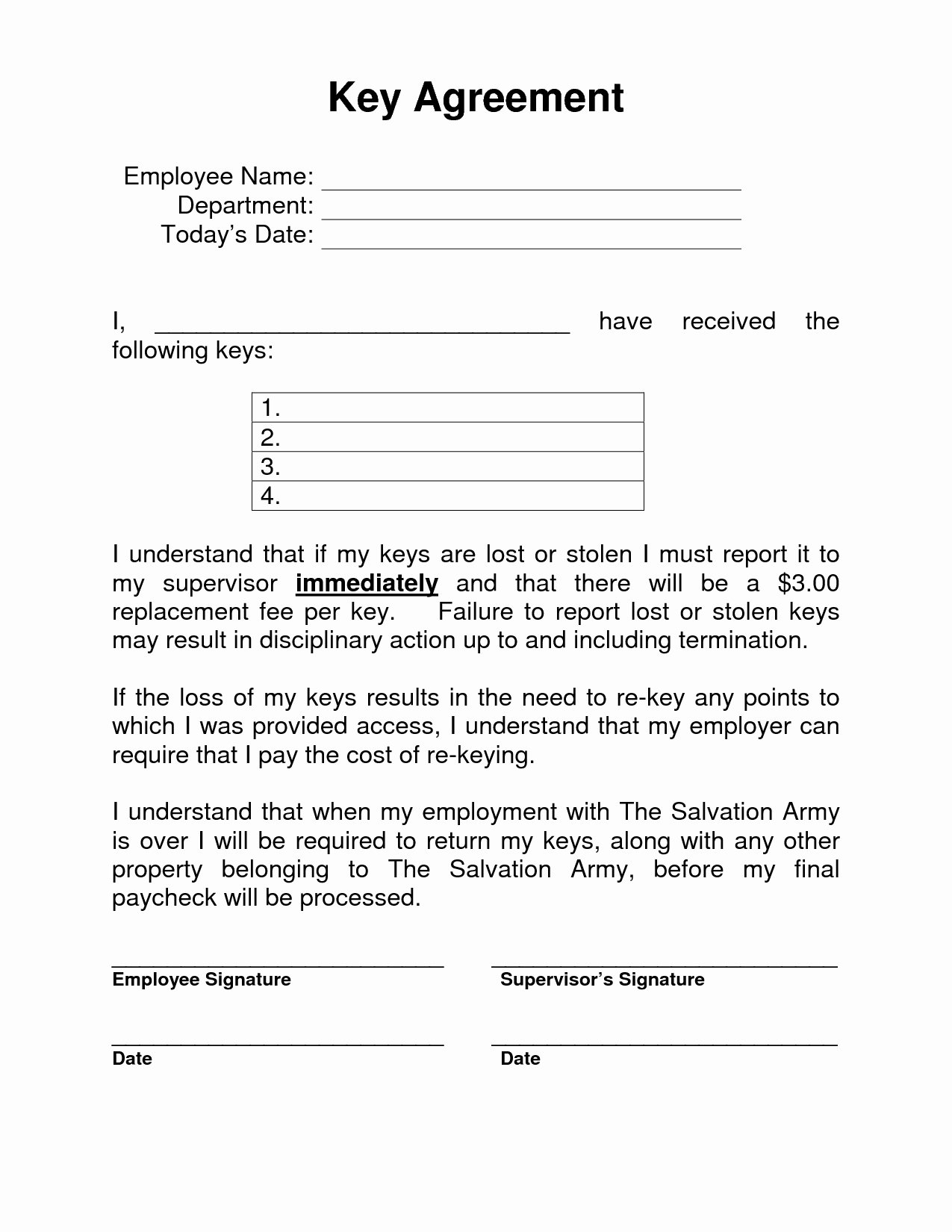 Employee Key Holder Agreement Lovely 38 Excellent Employee Key Holder Agreement form Fo