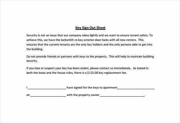 Employee Key Holder Agreement Template Lovely Key Checkout form Template 0e9ad87b0c50 Proshredelite