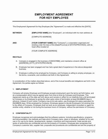 Employee Key Holder Agreement Template New Employment Agreement Template