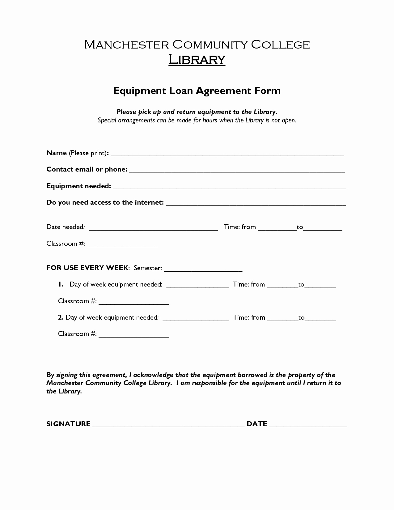 Employee Laptop Loan Agreement Best Of Free Printable Loan Agreement form form Generic