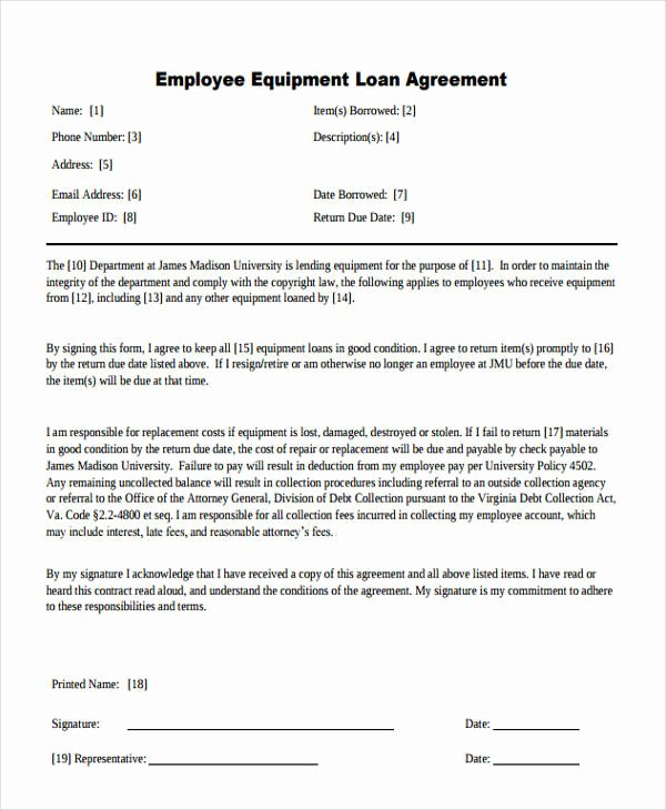 Employee Laptop Loan Agreement Elegant 20 Loan Agreement formats