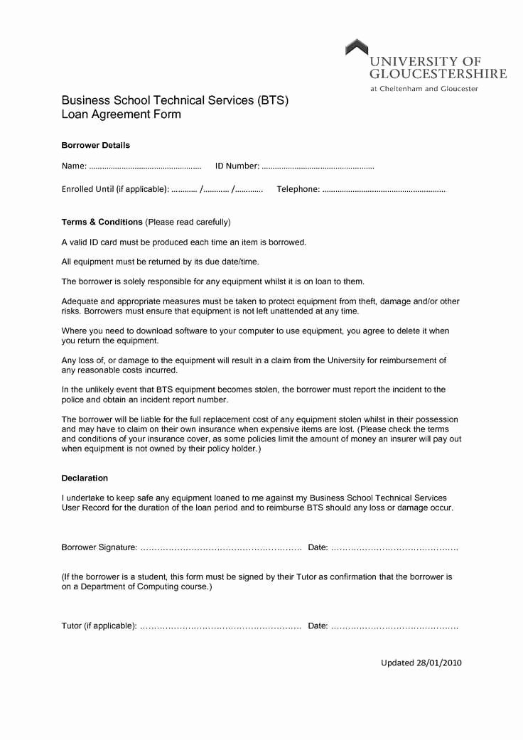 Employee Laptop Loan Agreement Luxury Laptop Loan Agreement Template Excellent Loan Declaration