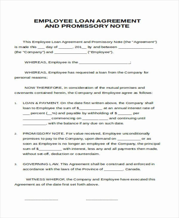 Employee Loan Agreement California Awesome 37 Agreement Letter formats Word Pdf
