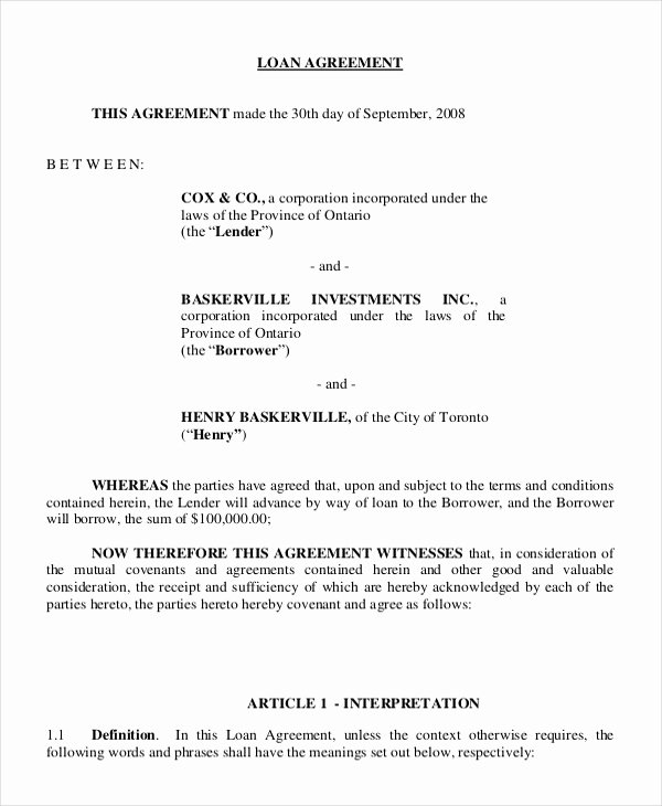 Employee Loan Agreement California Best Of 8 Agreement Templates & Samples Word Pdf