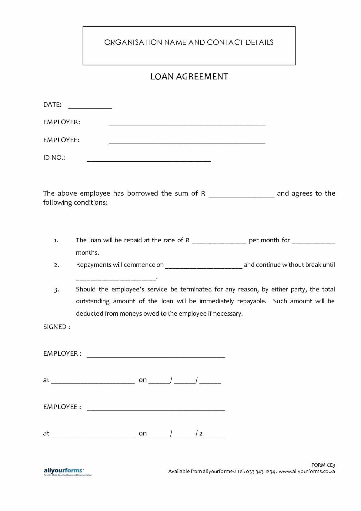 Employee Loan Agreement California Best Of Printable Sample Loan Template form