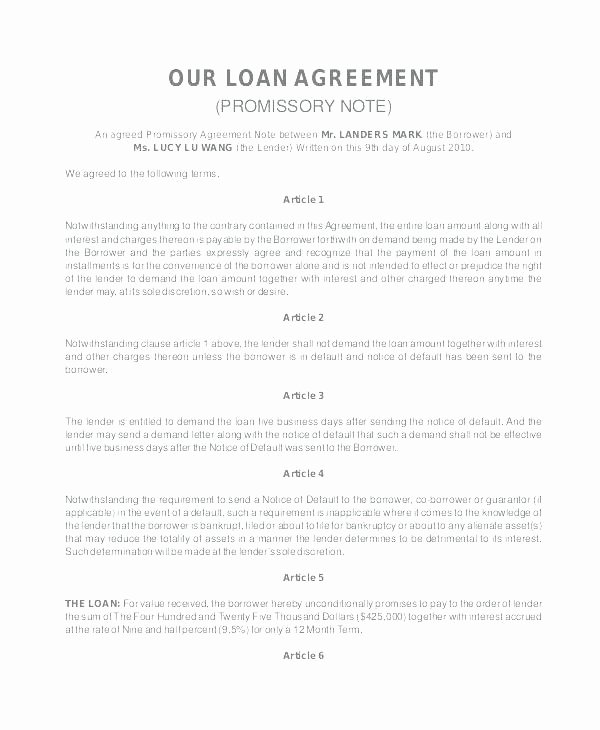 Employee Loan Agreement California Unique Loan Promissory Note Template Federal Loan Promissory Note
