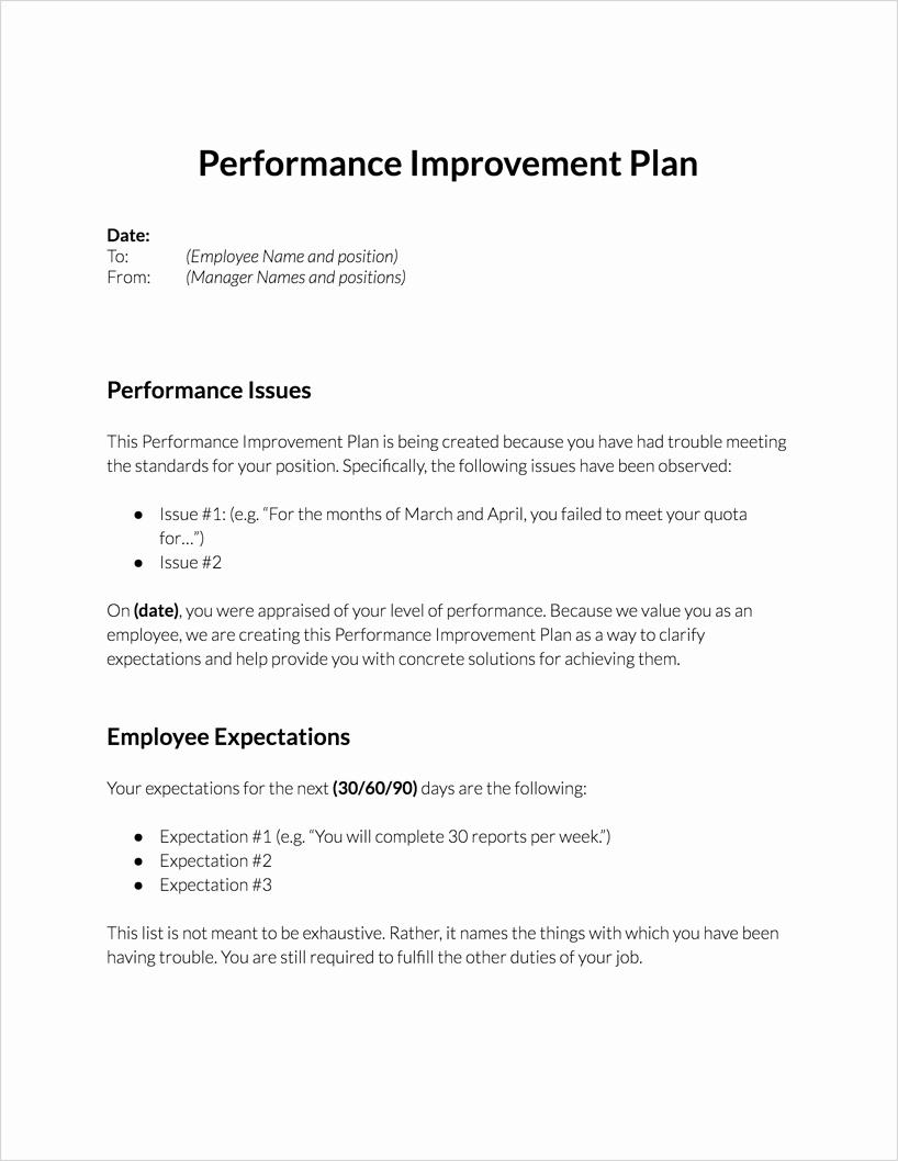 Employee Performance Improvement Plan Template New Performance Improvement Plan for Download