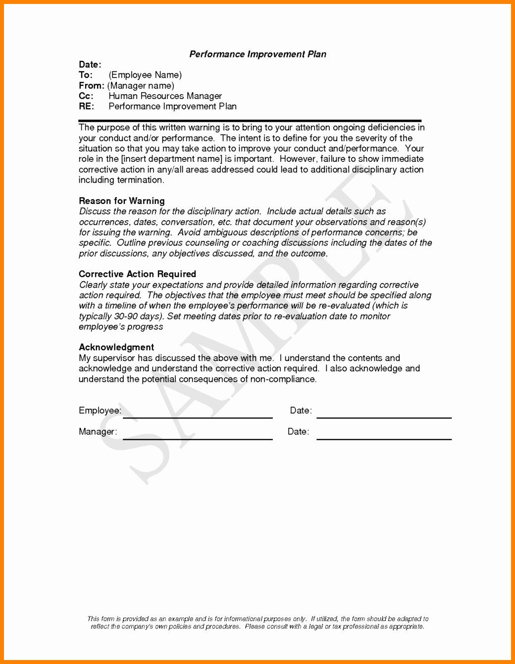 Employee Performance Improvement Plan Template Unique Performance Improvement Plan Letter Template Examples