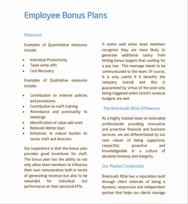 Employee Retention Plan Template Awesome Employee Retention Bonus Agreement form Templates