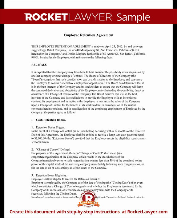 Employee Retention Plan Template Fresh Employee Retention Agreement Template with Sample