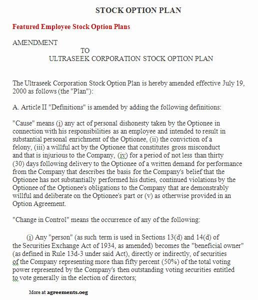 Employee Stock Option Plan Template Elegant Stock Option Plan Agreement Sample Stock Option Plan