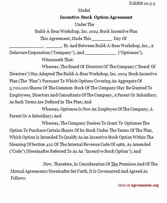 Employee Stock Option Plan Template New Incentive Stock Option Agreement Sample Incentive Stock