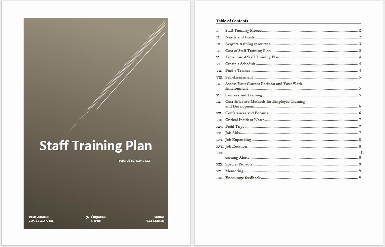 Employee Training Plan Template Elegant Staff Training Plan Template – Microsoft Word Templates