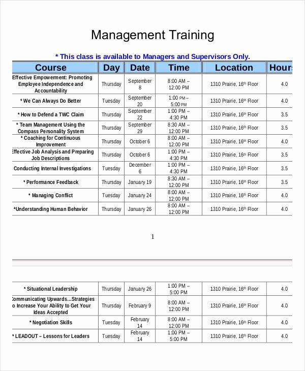 Employee Training Plan Template Excel Elegant Employee Training Schedule Template 15 Free Word Pdf