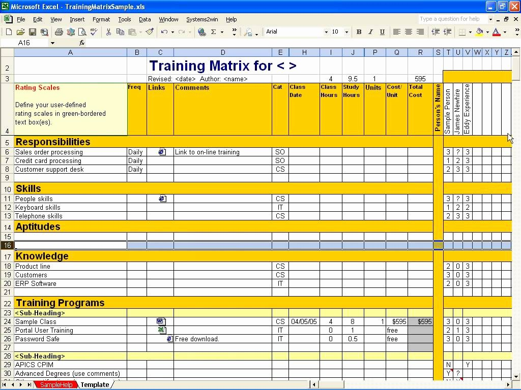 Employee Training Plan Template Excel Lovely Employee Training Matrix Template Excel