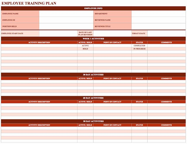 Employee Training Plan Template Fresh Employee Training Schedule Template In Ms Excel Excel