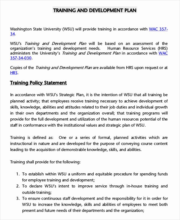 Employee Training Plan Template Unique 5 Employee Training Plan Templates Free Samples